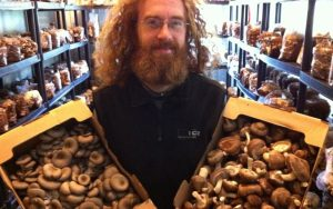 Jacob at SaltSpring Sprouts and Mushrooms